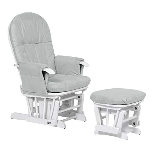 Tutti Bambini Deluxe Padded Smooth Glider Nursing Chair & Foot Stool with 3 Reclining Positions - White Wood Frame With Grey Soft Fabric