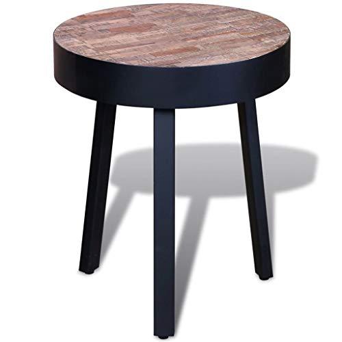 vidaXL Table d'appoint ronde en teck recyclé avec pieds en métal Table de salon