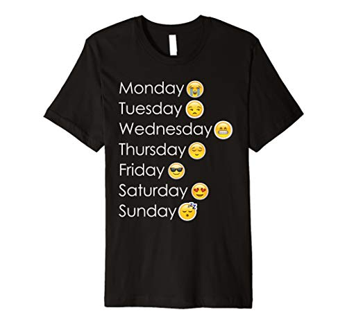 Funny Emoji-7Wochentage Mood T-Shirt Geschenk für Emoticon Liebhaber