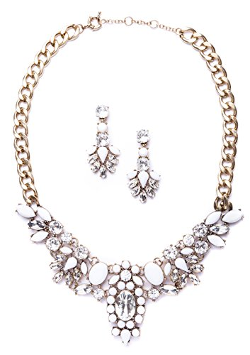 Happiness Boutique Parure Gioielli Sposa color Bianco | Set Collana e Orecchini Statement senza nickel