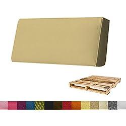 Arketicom Pallett-One, Beck cojín para sofá Euro Pallet en varias medidas y colores, poliuretano alta densidad HD mezcla de algodón para terrazas y jardines. 1000% Made in Italy, Canapa, 80x30x15