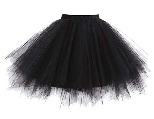 Übergröße Kostüm Frauen Disco - Reyoust Damen Tutu 80er Jahre Kostüme Ballet Tüllrock Karneval Petticoat Neon Farben Schwarz Übergröße