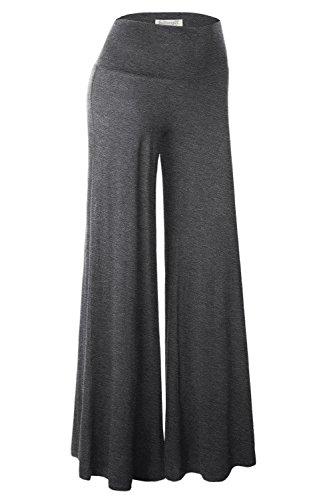 BaiShengGT Damen Lange Stretch Slinky Lagenlook Hose im Marlene-Stil Anthrazit L