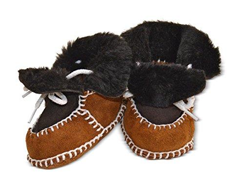 Wildash London , Chaussures souple pour bébé (garçon) marron glitter brown suede & white shearling Size 3-12 months 2-tone light / dark