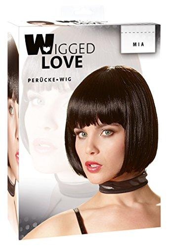 Kostüm Schwarzen Bob - Wigged Love Perücke Bob - kinnlange Kunsthaar-Perücke in Bobform mit Pony, erotische Perücke für Frauen, schwarz