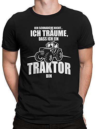 vanVerden Herren T-Shirt - Ich schnarche Nicht ich träume das ich EIN Traktor Bin, Farbe:Schwarz, Größe:L