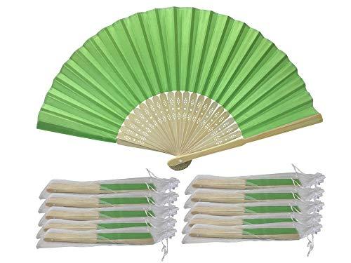 Rangebow SHF12 Lawan Vert-Vert anis 10 Commerce de gros en soie élégant Éventail en bambou cadeau mariage faveur de la cage thoracique