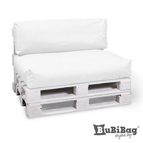 BuBiBag Palettenkissen Sitzkissen Sitzauflage In & Outdoor, Diverse Farben zur Auswahl & viele Größen (80x60x15, Weiß)