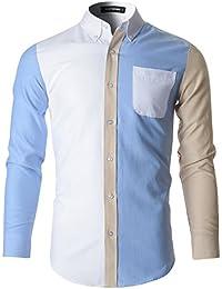FLATSEVEN Camisas Casual Slim Fit Premium Hombre