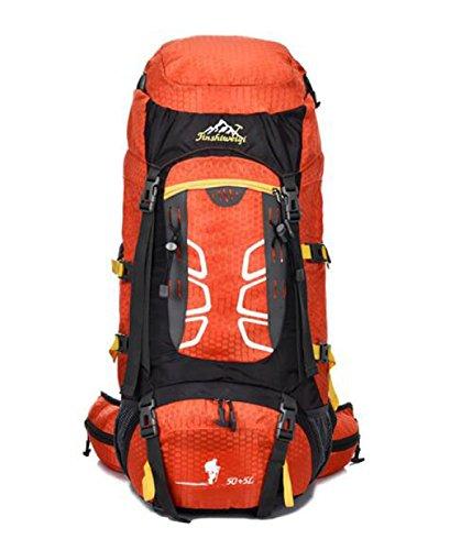 Neu Sport Rucksack Bergsteigen Tasche Mit Federung Halter Reise Tasche 55L Orange