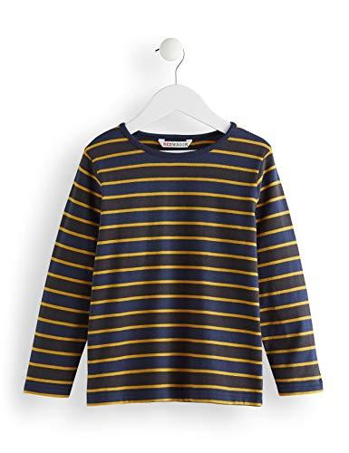 RED WAGON Jungen Stripe Long Sleeved Top Langarmshirt, Mehrfarbig (Grey/Blue), 134 (Herstellergröße: 9) -