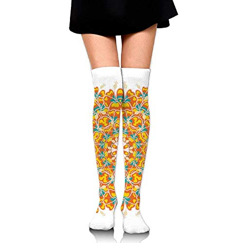 OQUYCZ Woman Round Ornament Tropical Plant and Hibiscus Exotic Flower Floral Concision High Boot Socks