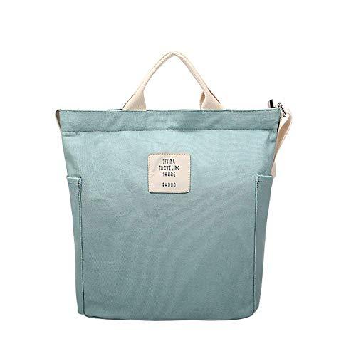 Gindoly Casual Handtasche Damen Canvas Chic Schultertasche Damen Henkeltasche Schulrucksack Große umhängetasche Tasche (Minzgrün) EINWEG