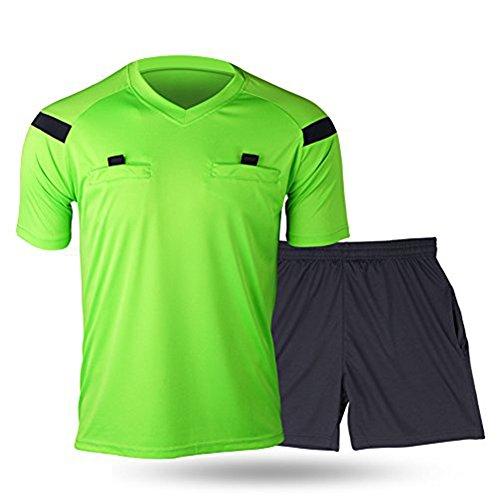 Shinestone Herren-Schiedsrichter-Trikot, für Fußball, kurze Ärmel, leuchtend grün, S