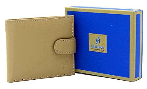 Starhide 5001 Herren-Portemonnaie, weiches italienisches Leder, Geschenkbox Beige