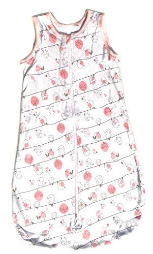 Ventilkappenkönig Baby Schlafsack Bio Baumwolle Strampelsack Pucksack Neugeborene Kleinkind 0-24 Monate Stern Vogel Dino Löwe 70cm 90cm 110cm (90cm, Rosa Vogel)
