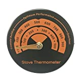 Queta Ofenthermometer Kaminthermometer Schnelllesemagnet, Temperaturbereich 0-500° C Silent Thermometer