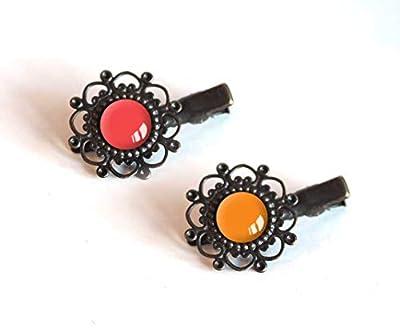 2 Barrettes à cheveux, Cabochon 12 mm, Tons rouge, rouge et orange, bronze