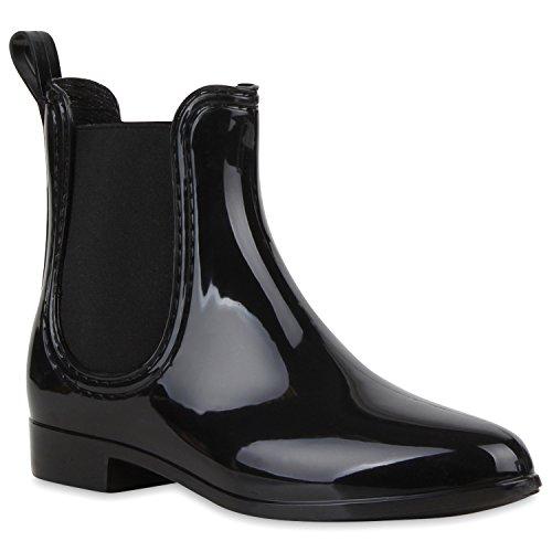 Stiefelparadies Bequeme Stiefeletten Damen Chelsea Boots Gummistiefel Lack Schuhe 118462 Schwarz 35 Flandell