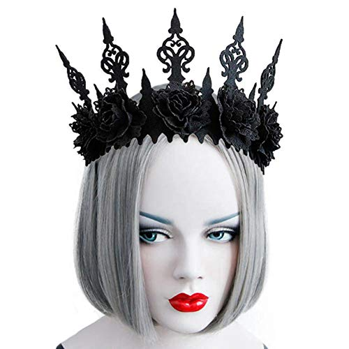 TUANMEIFADONGJI Halloween Coiffe Gothic Black Wind Couronne Coiffe Femmes Halloween COS Maquillage Mascarade Danse Voir Photo Garland Bandeau