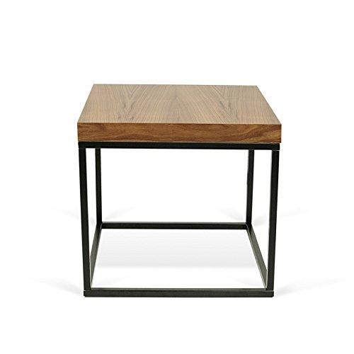 Paris Prix - Temahome - Table D'appoint 50cm Prairie Noyer & Métal Noir