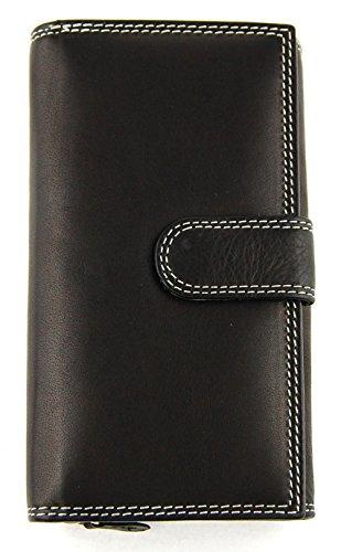 M99 Große Brieftasche, Lederbörse (a BB11) Schwarz, Geldbörse, Damengeldbörse, Echt Leder, Kleinlederwaren
