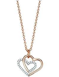 Esprit Damen Halskette Silber vergoldet Zirkonia promise of love rose weiß ESNL93124B