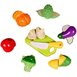 Toyshine Plastic Realistic Sliceable Vegetables Cutting Play Toy Set (Black)