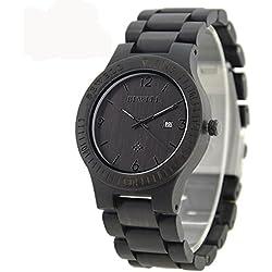 Bewell ZS-w086b Ebenholz Herren Holz Quarzuhr Quarzuhrwerk Datum Display Sandelholz Armbanduhr