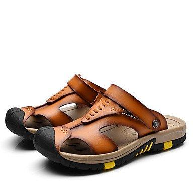 Herren Sandalen Sommer Open Toe/Sandalen Leder Casual flachem Absatz Andere Blau/Braun/Camel Walking Brown