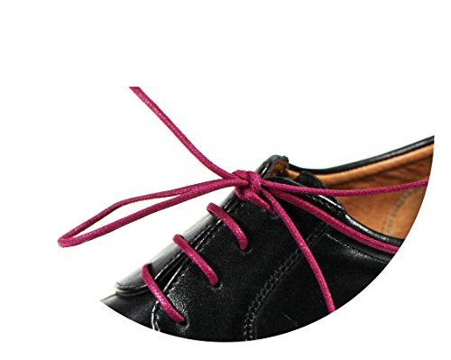 Loco!Laces- Gewachste, Bunte, farbige, Runde Schnürsenkel für Business-Schuhe! 80cm Länge (3X Brombeere)
