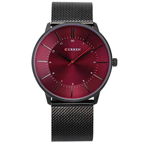 Dilwe Herren Uhr männlich Uhr, Modische Legierung große Runden Zifferblatt Analog-Anzeige Quarz-Uhrwerk Armbanduhr mit Verstellbarem Metall Mesh Armbanduhr Band, Black +Red
