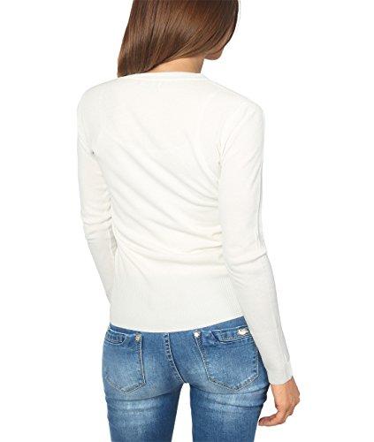 KRISP® Damen Klassische Basic Strickjacke mit Knöpfen Cremeweiß (5286)
