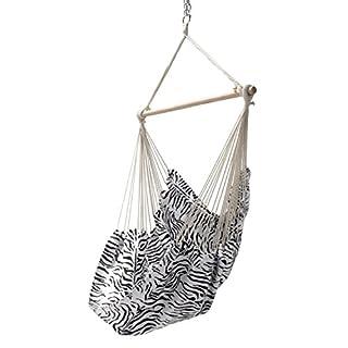 Ampel 24 Garten Hängesessel Zebra | Schwarz/Weiß Gemustert | Hängestuhl bis 100 kg belastbar mit Querholz 110 cm | Stoff Atmungsaktiv | Sitzhängematte Ohne Gestell