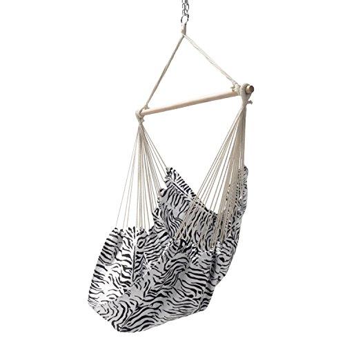 Garten Hängesessel Zebra | schwarz / weiß gemustert | Hängestuhl bis 100 kg belastbar mit Querholz 110 cm | Stoff atmungsaktiv | Sitzhängematte ohne Gestell