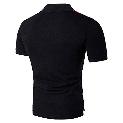 Poloshirt Herren Baumwolle Geometrie Slim fit Glestore Schwarz Rot S-XXL Schwarz