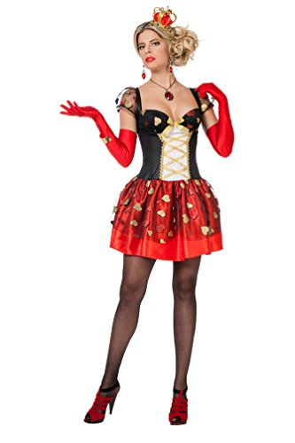 Karneval Klamotten Herz-Königin Kostüm Damen Herzkönigin Kleid Spielkarte-n-Kostüm Dame Karneval Alice Damen-Kostüm Größe 38 (Kostüm Kinder Herzen Königin Der)