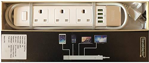 Reise Adapter USA/Amerika Netzsteckerleiste Multi Safe Verlängerungskabel 4 Eingänge Ultrakompaktes Kabel für Urlaub 3-poliger geerdeter Typ B-Stecker 4 Typ G-Buchsen 1.5 m Weiß