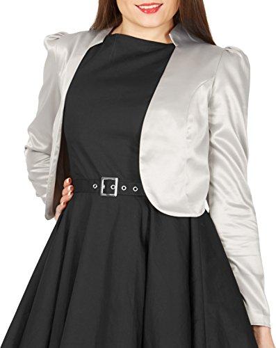 Blackbutterfly formale raso a maniche lunghe bolero giacca (argento, it 40 / eur 36 - xs)