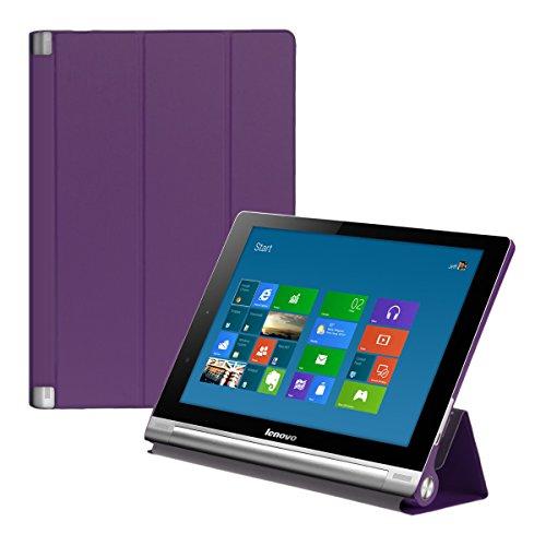 kwmobile Funda para Lenovo Yoga Tablet 10 HD+ - Carcasa Inteligente de [Cuero sintético] con [Soporte] y Cierre de Libro para Tablet