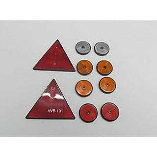 10 tlg.AVB Reflektor - Set Rückstrahler - Set für PKW - Anhänger Dreieck und Rund