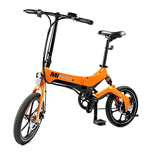 411TLhBXfJL. SS500  - MiRiDER One - Folding Electric Bike (2020 Edition) - Lightweight Foldable Compact eBike For Commuting & Leisure - 16 Inch Wheels, Rear Suspension, Pedal Assist Unisex Bicycle, 250W / 36V