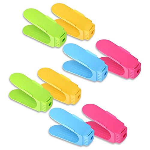 Schramm 8 Stück Schuh Stapler Schuhhalter in 4 Farben Grün, Blau, Gelb und Pink Schuhe Organizer Schuhstapler Schuhregal 4er Set für 4...