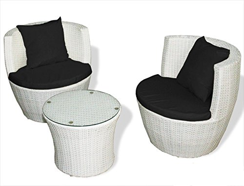 KMH®, 3-teilige Gartensitzgruppe *Felipa* inklusive Sesselauflage und Kissen - Farbkombination: weiss/schwarz (#106074) - Runde Sessel