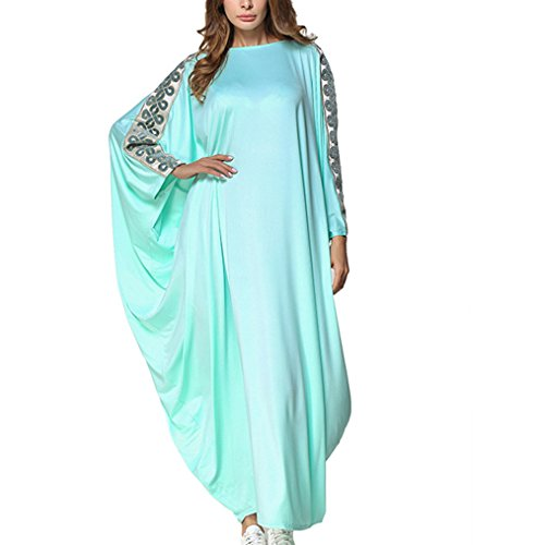 Kostüm Dubai - Mode Kaftan Muslimische Roben für Frauen, Langarm-Lose Abaya Maxi Kleid, Konservativen Stil Jalabiya,Blau,OneSize