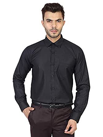 MANQ Men's Regular Fit Cotton Formal Shirt-Size 36 Black