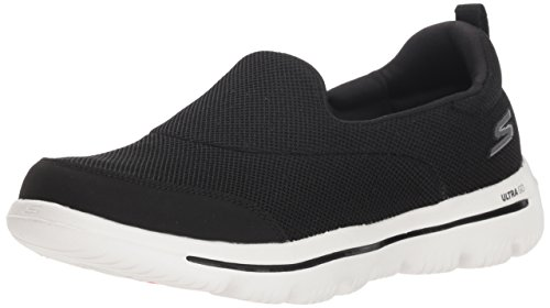 Skechers Damen Go Walk Evolution Ultra-Reach Slip On Sneaker, (Black Textile/White Trim BKW, 6 EU (Skechers Go Walk Nahtlose)