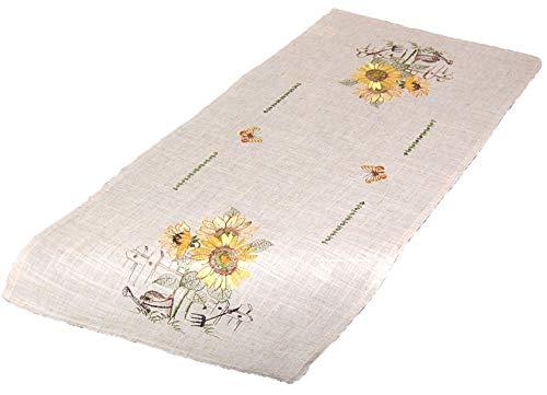 Markenlos Rustikale Tischdecke 40x85 cm Decke Läufer Eckig Sunflower Leinenoptik Sonnenblume Gestickt Tischdeko Herbst (Tischläufer 40 x 85 cm)