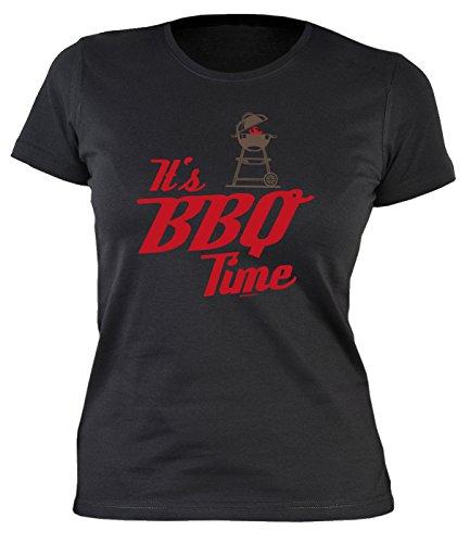 Damen/Grill/Spaß-Shirt/Fun-Shirt/Rubrik lustige Sprüche: It`s BBQ Time - geniales Geschenk Schwarz