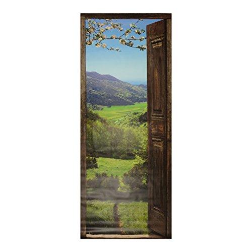 PLAGE 141028 adhesivo de decoración para puertas, trampantojo puerta-Vistas a la montaña, 204 x 83 cm